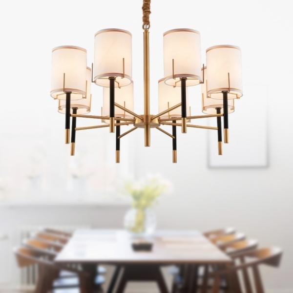 後現代黑金直筒吊燈-8燈 1