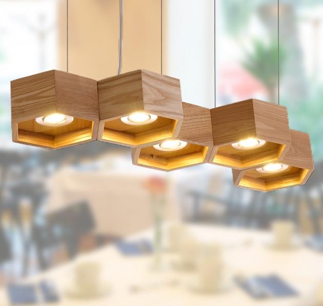 木頭蜂巢吊燈-5燈 1