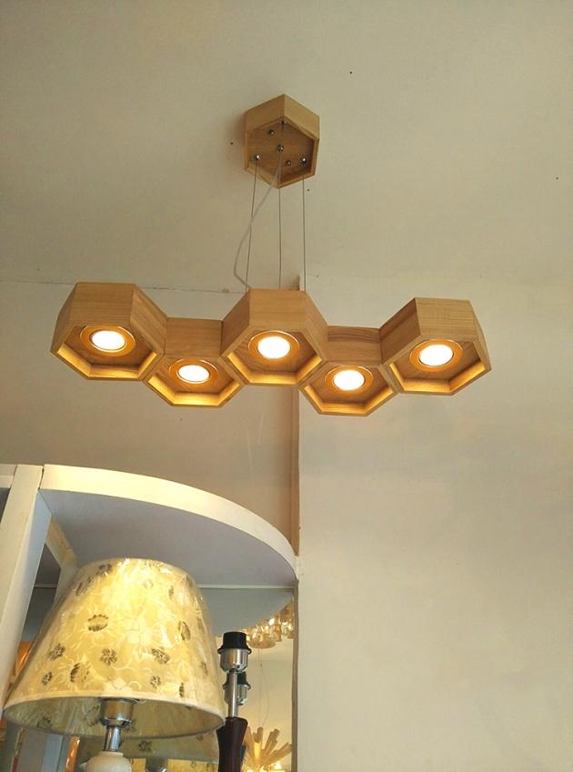 木頭蜂巢吊燈-5燈 3