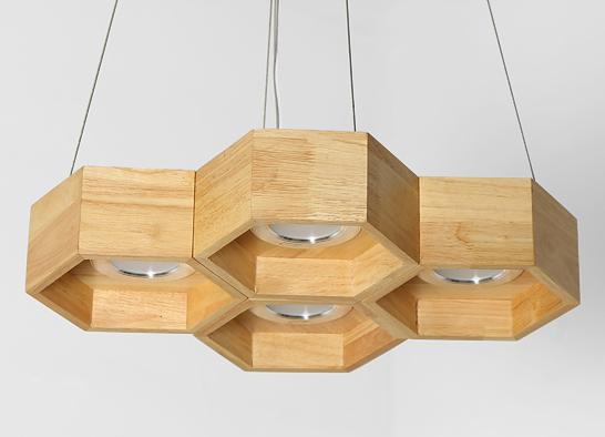 木頭蜂巢吊燈-4燈 1
