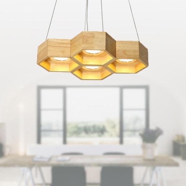 木頭蜂巢吊燈-4燈 2