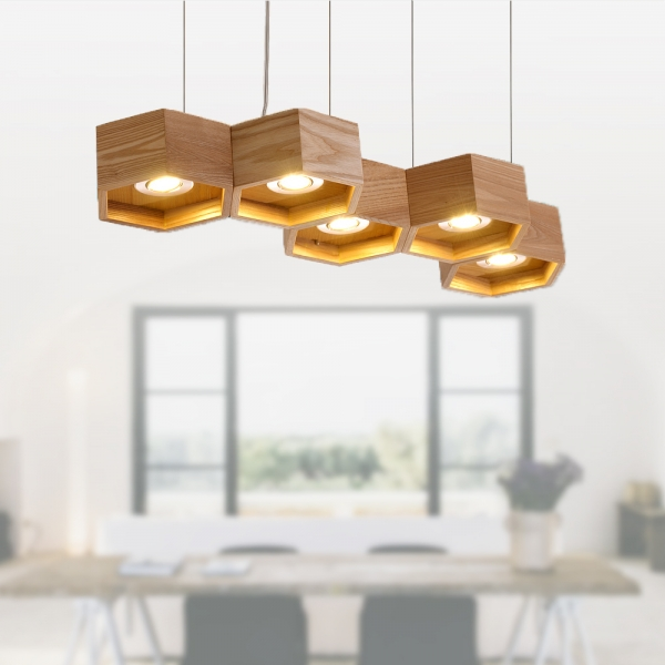 木頭蜂巢吊燈-5燈 2