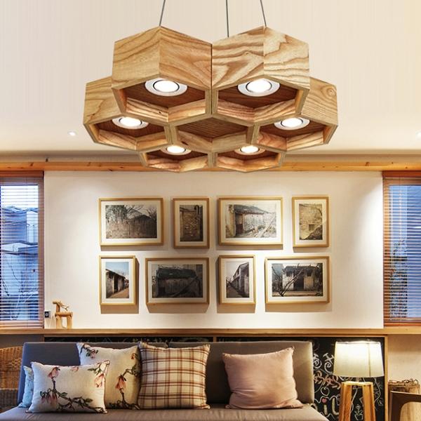 木頭蜂巢吊燈-6燈 1
