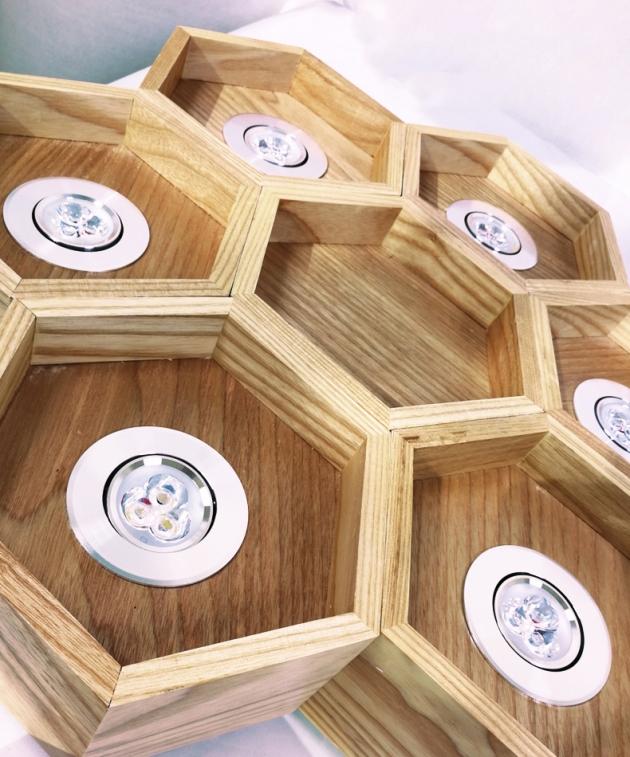 木頭蜂巢吊燈-6燈 2