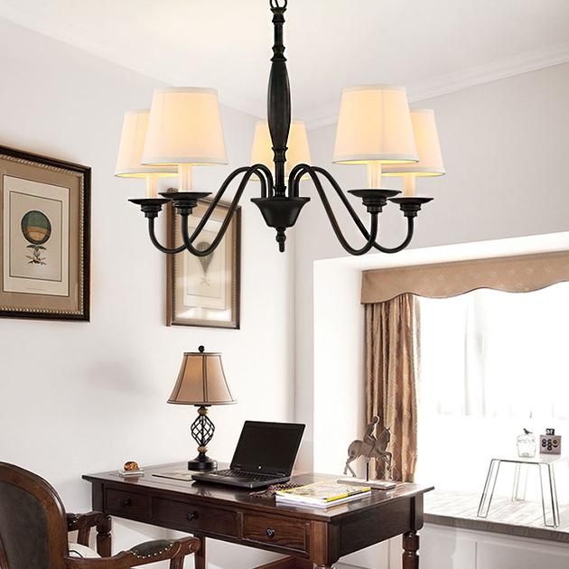 田園布藝吊燈-6燈 4