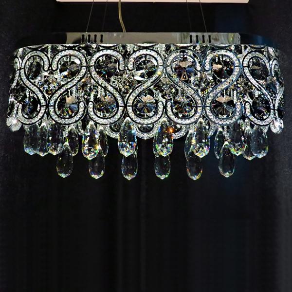 煙灰水晶橢圓吊燈 2