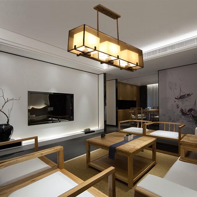 新中式雙層長形紗罩餐吊燈 3