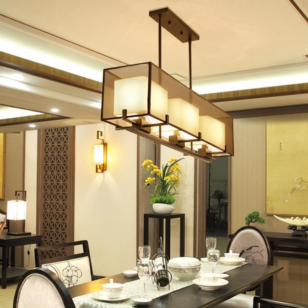 新中式雙層長形紗罩餐吊燈 4