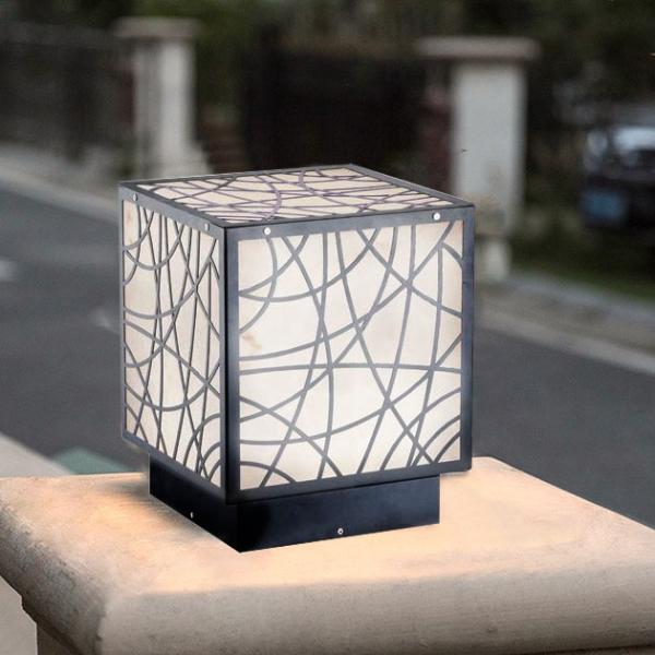 花碎紋方形戶外柱燈 2